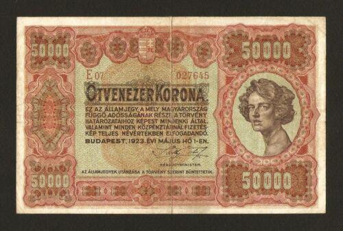 Hungary Ungarn 50000 50.000 Korona Kronen 1923 . Rare banknote . Pick # 71b