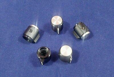 "5 Alco knob KPN-500BA  1/4"" shaft  Black & Silver Aluminum Knobs Made in Japan"