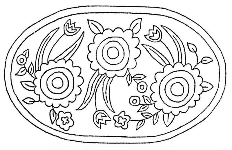 Rug Hooking Pattern Primative Sunflower Oval on Natural Linen