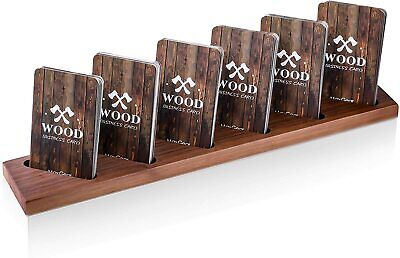 Wood Business Card Holder Desk Multiple Display Stand For Desktop Walnut
