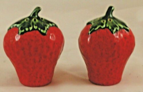 Vintage Strawberry Salt & Pepper Shaker Set Ceramic