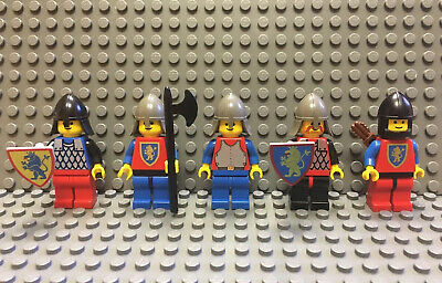 LEGO Lot of 5 Crusader Knights Castle Minifigures Lion VTG Shields Weapons Axe