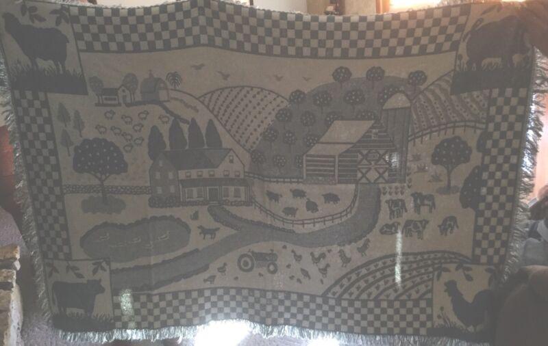 "Kent Feed-  Farm Scene Decorative Throw 84"" By 48"""