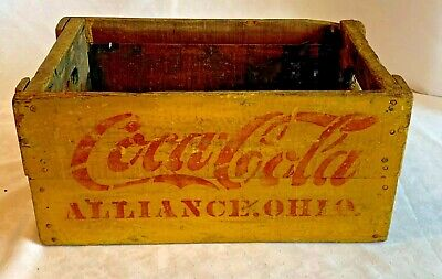 Antique COCA COLA Hutchinson Bottle Crate Carrier Alliance OH Yellow Red Stencil