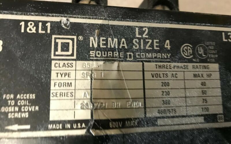Square D 8536 NEMA 4 Motor Starter With Overload Heaters