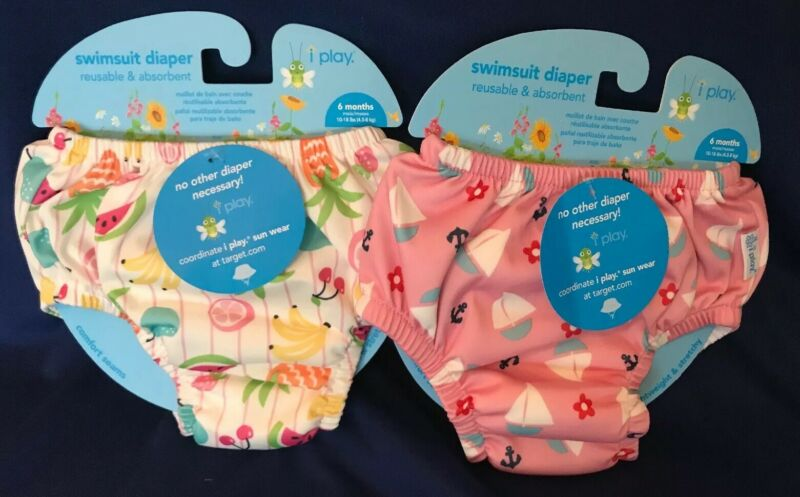 2   NWT iPlay Baby 6 months UPF 50+ Reusable Swim Diaper Swim  FREE SHIPPING