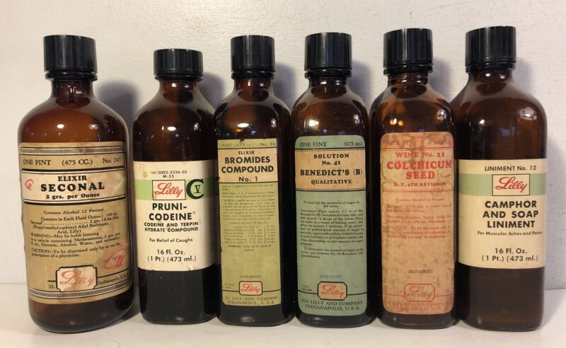 6 Vintage Lilly One Pint Medicine Pharmacy Bottle Lot Codeine Benedicts Bromides