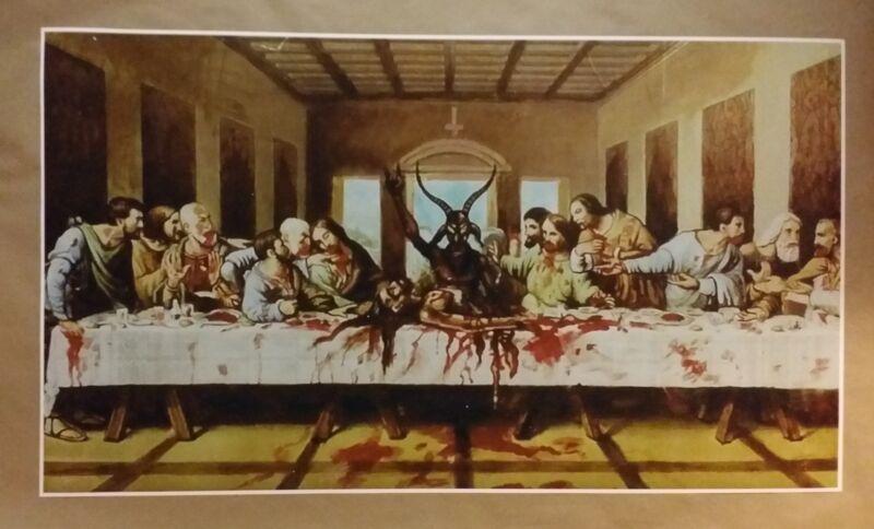 "Satanic Last Supper GIANT WIDE 24"" x 42"" Poster Evil Art Devil Halloween"