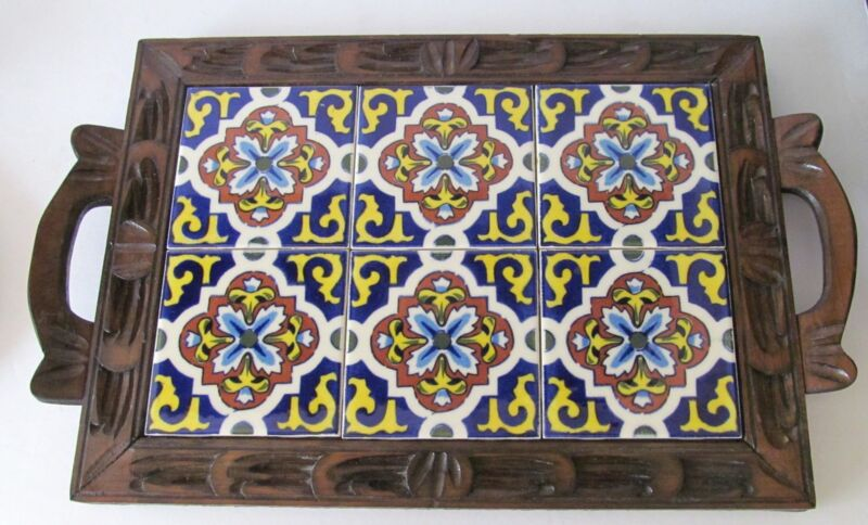 "DAL-TILE MEXICAN CERAMIC TILE WOOD TRAY FOOTED W HANDLES 18""x 11"" Vintage"