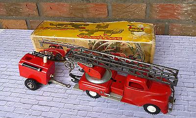 Blechspielzeug Gama Feuerwehr mit Anhänger Made in U.S. Zone Germany + OVP Obert