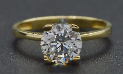 1.50 Ct 14K Yellow Gold Solitaire Engagement Wedding Created Diamond Ring -