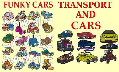 FUNKY CARS, CARS, TRANSPORT,  EMBROIDERY MACHINE DESIGNS ON A CD