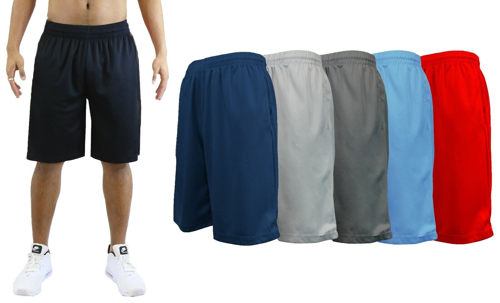 Men's 6 Pack Mesh Basketball Shorts Active Gym Sports Lounge Moisture Wicking Clothing, Shoes & Accessories
