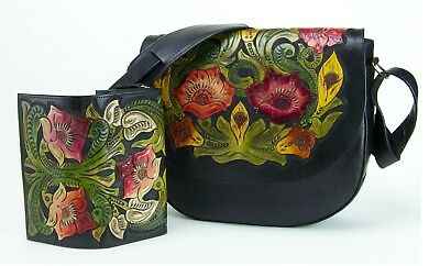 Hand Tooled Black Leather - **NEW** Artisan Mexico Hand-Tooled Leather Purse and Wallet - Flowers Black
