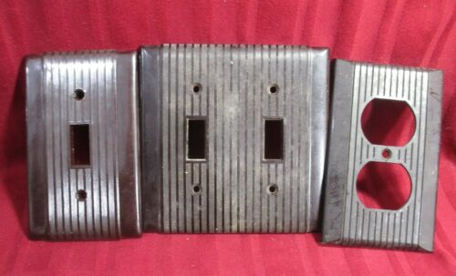 3 Brown Wall outlet SWITCH Plate Vintage Art Deco duplex electric ANTIQUE UNILIN