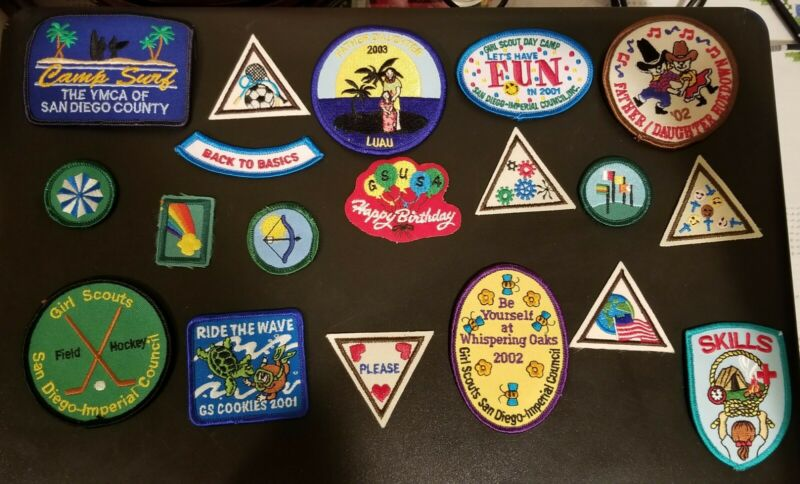 Hawaiian And San Diego Girl Scouts of America Patches LOT Of 19 Skills Back to B