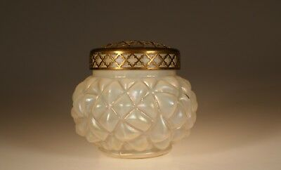 Vintage Czech Glass White Opalescent Puffy Vase with Brass Flower Frog c.1930
