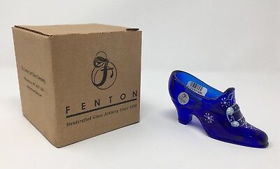 Fenton Cobalt Blue Hand Painted Slipper Shoe - New With Box and Tags! #7737 GN