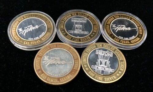 Lot of 5 $10 Hilton Las Vegas Nevada .999 Fine Silver Strikes Chips Tokens