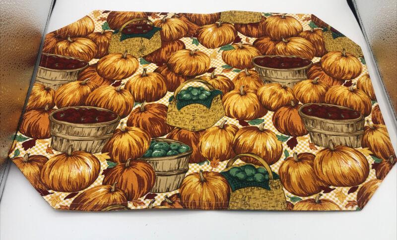 Longaberger Homestead Placemats Set of 3 Pumpkins Baskets Apples Fall Autumn