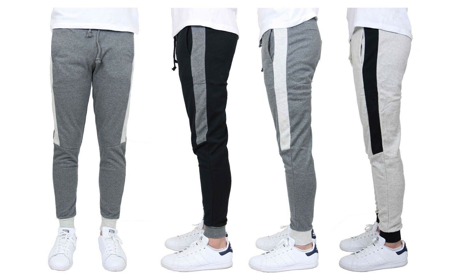 Men's Jogger Sweatpants w/ Side Stripe French Terry Slim-Fit Lounge Gym Sports Activewear