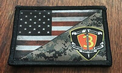 USMC 3rd Marine Division USA Flag Morale Patch Tactical Army Marines Badge