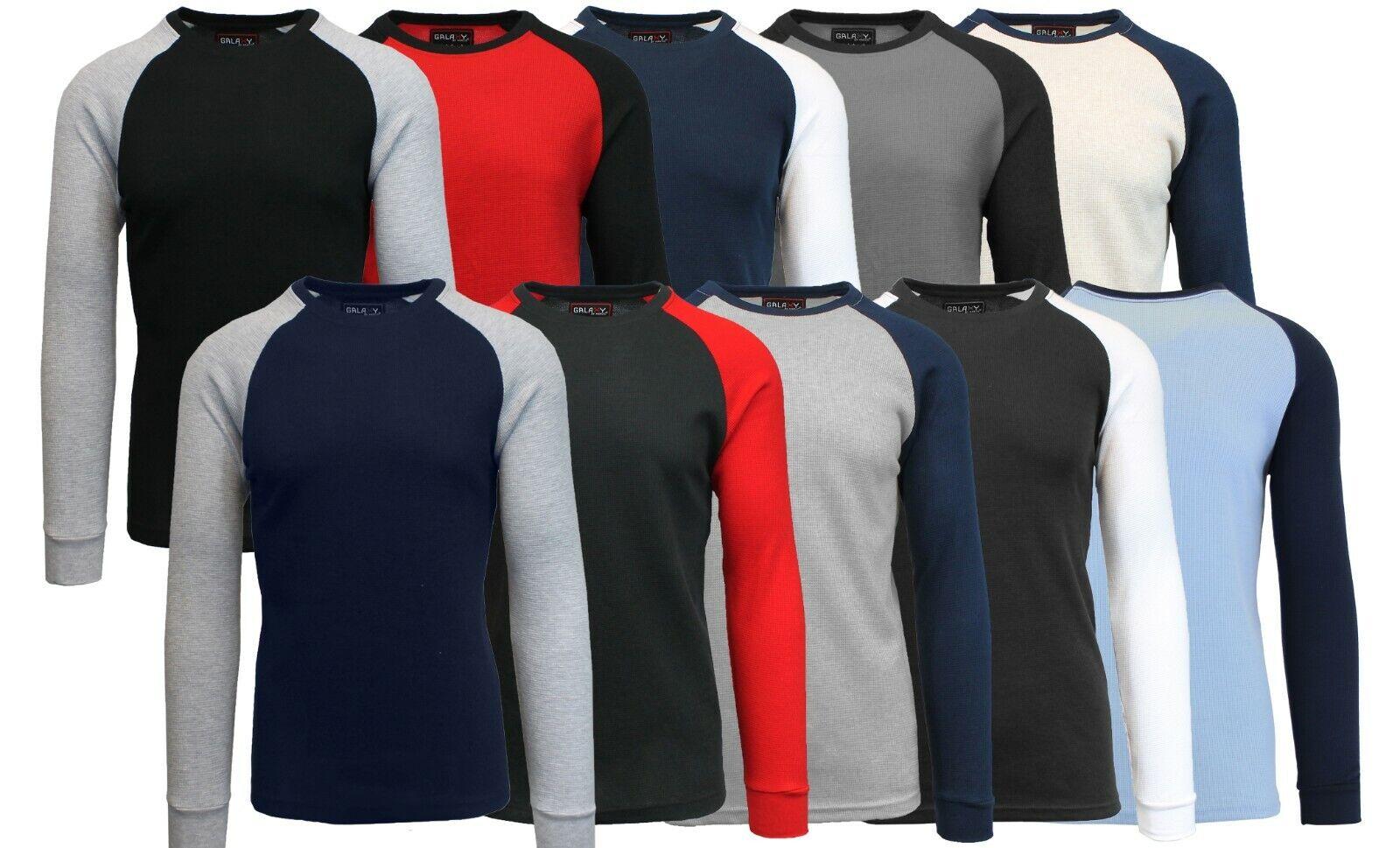 Mens Long Sleeve Thermal Shirt Raglan Tee Crew Neck S M L XL