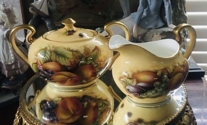 Aynsley Orchard Gold Creamer and Covered Sugar Fine Bone China England Rare!