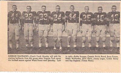 1955 Roanoke Times Va Virginia Tech Corbin Bailey Jimmy Lugar Dickie Beard