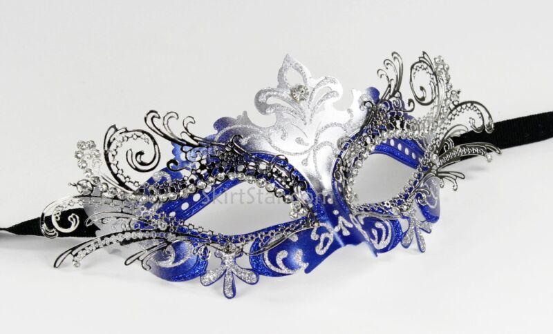LASER CUT metal VENETIAN MASK masquerade Blue SILVER rhinestone Prom Carnivale