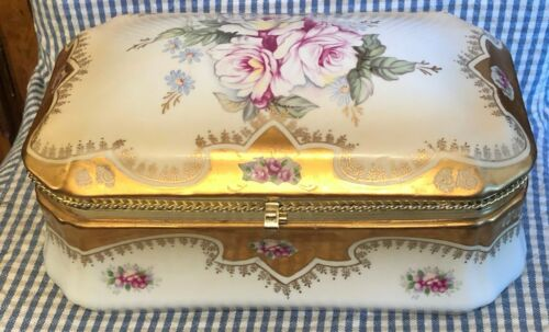 Large Victorian style Porcelain Gilt & Floral Glove Box or Dresser Box