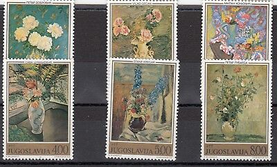 a139 - YUGOSLAVIA - SG1624-1629 MNH 1974 FLOWER PAINTINGS