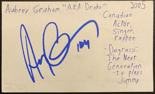 2005 Early Drake Autographed Index Card Signed Aubrey Graham Rapper JSA + Others