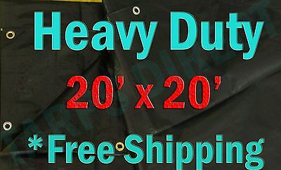 20x20 Black Heavy Duty Triage Swimming Pool Cover Shade Tarp Boat Waterproof