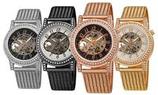 Akribos XXIV Women's AK1117 Automatic Skeletonized Crystals Mesh Band Watch