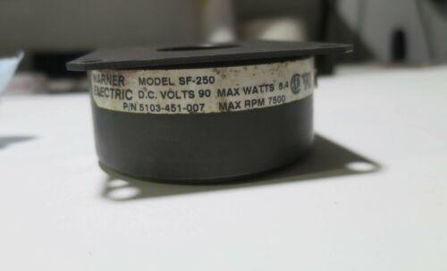Warner Electric Brake Motor SF-250 7500 RPM 90 VDC 8.4 WATT  5103-451-007