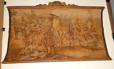 OLD 19TH CENTURY SILK EMBOSSED HIGH SOCIETY MAN & WOMAN TAPESTRY PAINTING