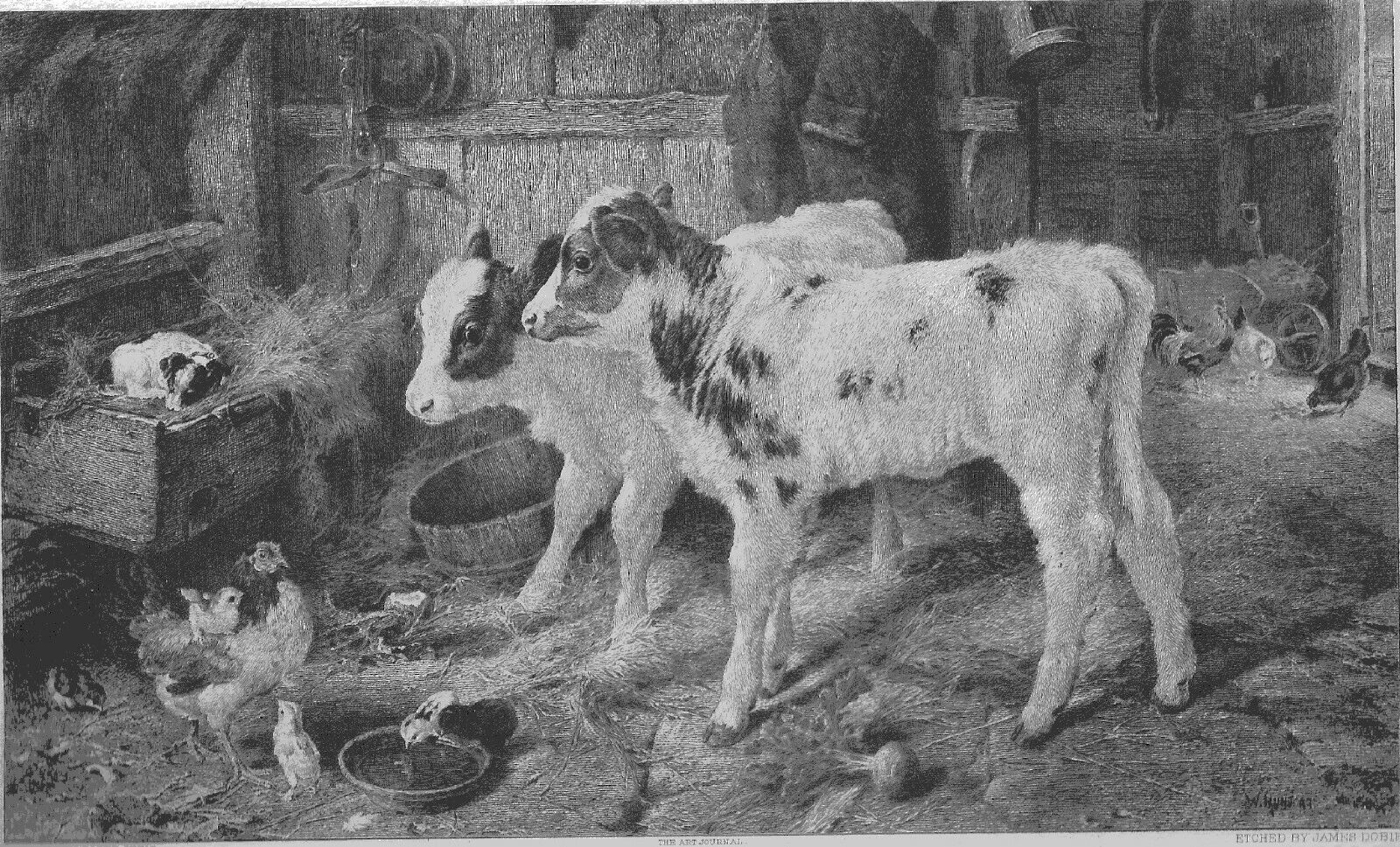 Walter Hunt 1861-1946 The Dog In The Manger Antique Print - $178.00