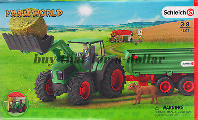 *NEW* Schleich Farm World Tractor with Trailer-Farmer-Front Loader-Calf-Hay Bale, used for sale  Shipping to Nigeria