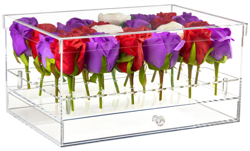 Clear Acrylic Flowers Display Case w/ Drawer for Wedding & Home, 24 Holes (A095)