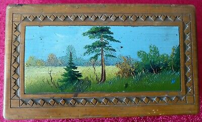 Vintage Wooden Casket Oil Paints Soviet USSR Jewel Box 1959 Decorative UK