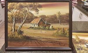 P. DALMONTY 1985 ORIGINAL OIL PAINTINGS x2 Wagga Wagga Wagga Wagga City Preview
