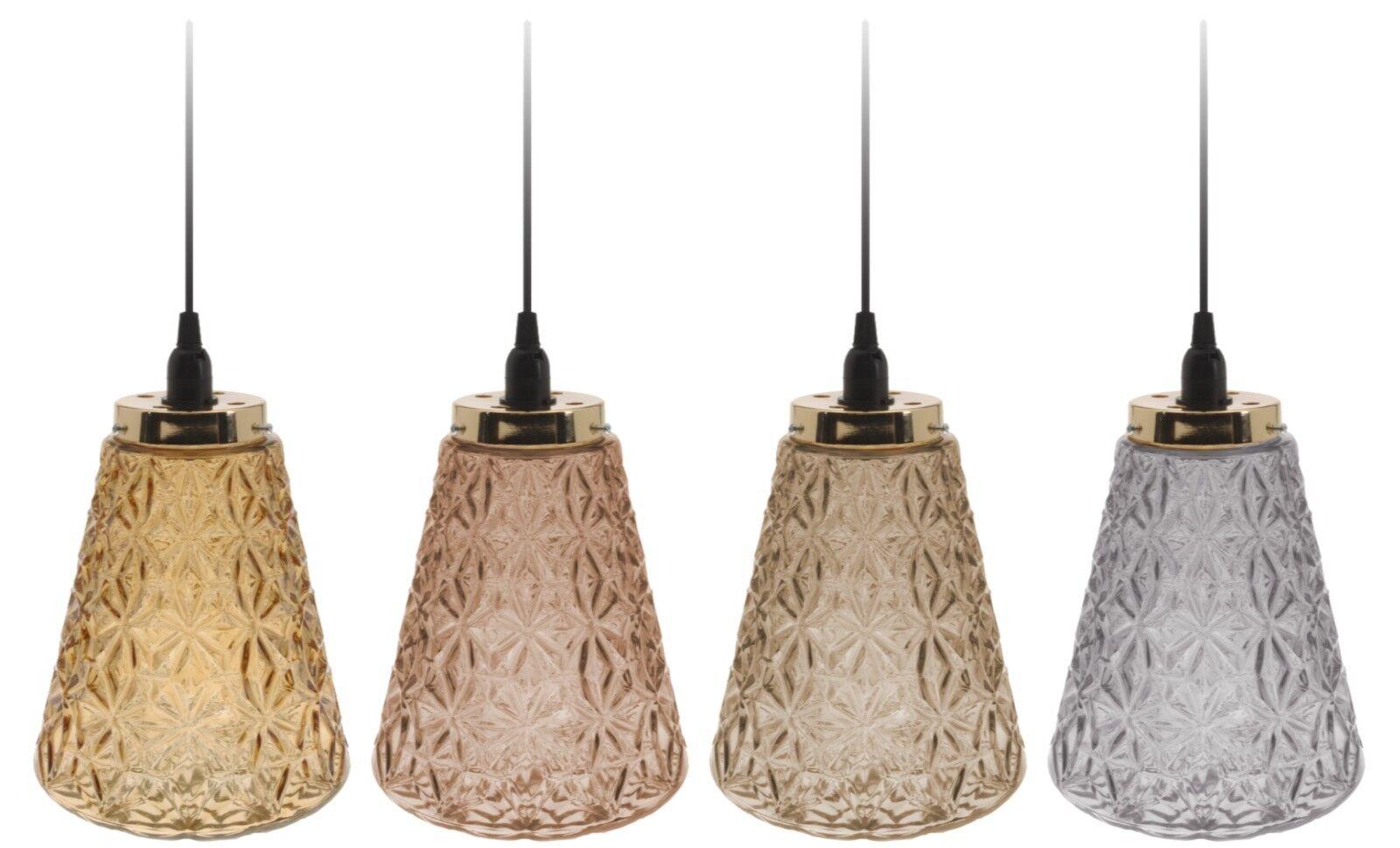 Lampe Leuchte Deckenleuchte Glas Taupe Grau Gold Braun 185 Cm E14 Wohnzimmer