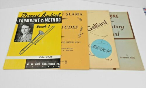 Lot of 4 Vintage Trombone Music and Instructional Books, Sonatas Etudes Methods