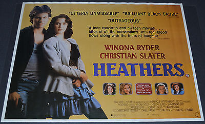 HEATHERS 37x28 ROLLED MOVIE POSTER! WINONA RYDER & CHRISTIAN SLATER CLASSIC!