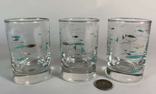 Set Of 3 MCM Vintage Libbey Atomic Turquoise Silver Fish Juice Glasses