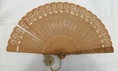 Antique Oriental Large Folding Hand Fan With Damage