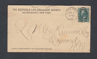 Usa 1883 Equitable Life Insurance Cover   Advertising Receipt Contents New York