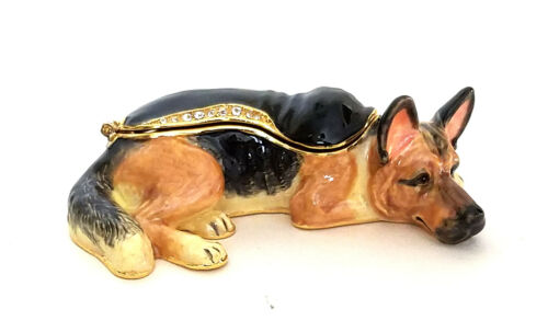 Rock German Shepherd Trinket / Jewelry Box Pewter Bejeweled  Kingspoint