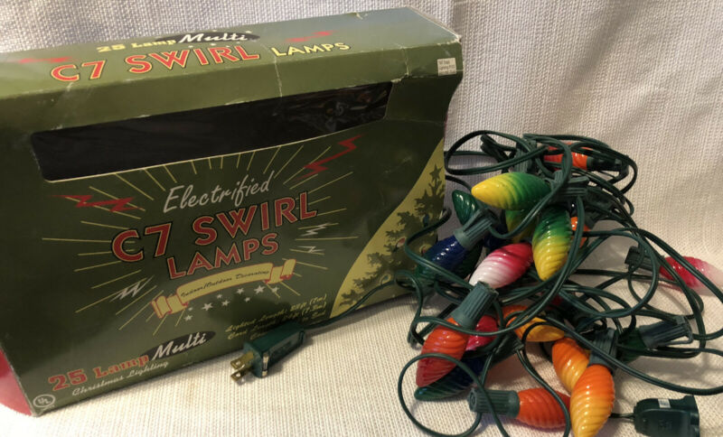 Electrified Swirl  Lamps Christmas Lighting C7 Swirl Multi Color Set